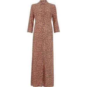 brown spot print shirt maxi dress