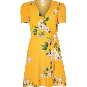 yellow floral button through mini dress